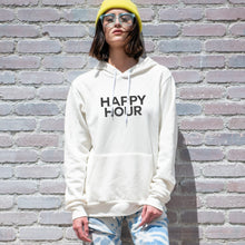 Load image into Gallery viewer, Happy Hour graphic screenprinted on a comfy vintage white unisex pullover hooded sweatshirt.