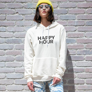 Happy Hour graphic screenprinted on a comfy vintage white unisex pullover hooded sweatshirt.