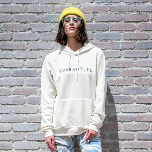 Quarantees graphic screenprinted in black on an off-white unisex pullover hooded sweatshirt