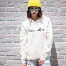 Load image into Gallery viewer, Quarantinis graphic screenprinted on a comfy vintage white unisex pullover hooded sweatshirt.