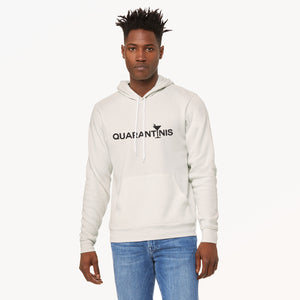 Quarantinis graphic screenprinted on a comfy vintage white unisex pullover hooded sweatshirt.