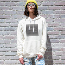 Load image into Gallery viewer, Social distancing graphic screenprinted on a comfy vintage white unisex pullover hooded sweatshirt.