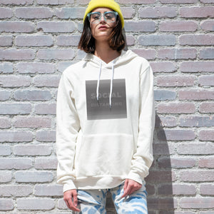 Social distancing graphic screenprinted on a comfy vintage white unisex pullover hooded sweatshirt.