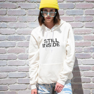 Sill Inside graphic screenprinted on a comfy vintage white unisex pullover hooded sweatshirt.