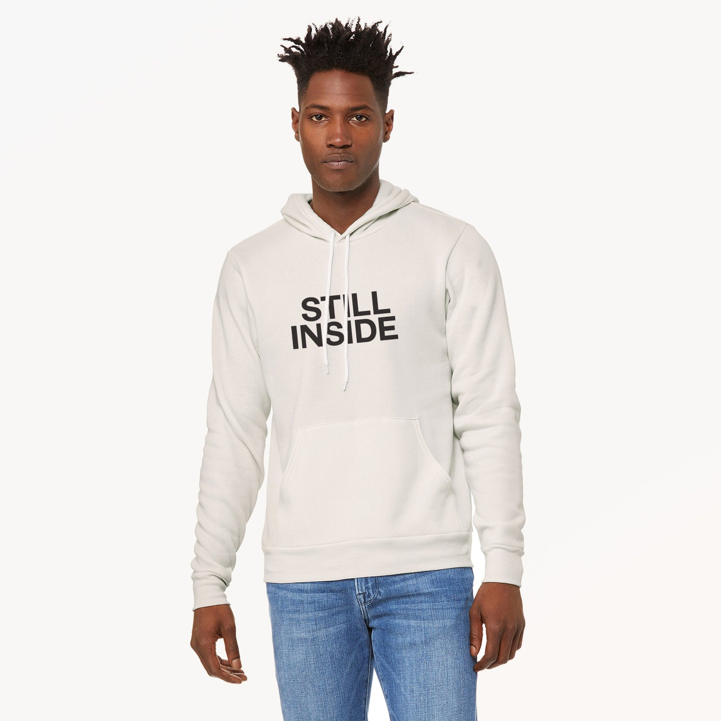 Still Inside graphic screenprinted on a comfy vintage white unisex pullover hooded sweatshirt.