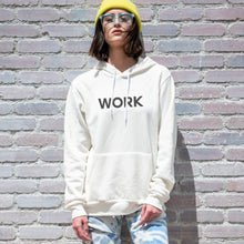 Load image into Gallery viewer, Work graphic screenprinted in black on the front of a comfy vintage white unisex pullover hooded sweatshirt.