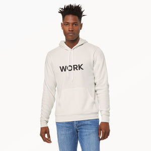 Work graphic screenprinted in black on the front of a comfy vintage white unisex pullover hooded sweatshirt.