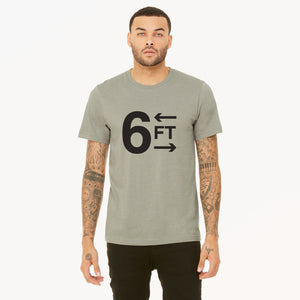 6FT graphic is screenprinted in black on a heather stone unisex soft cotton jersey t-shirt.