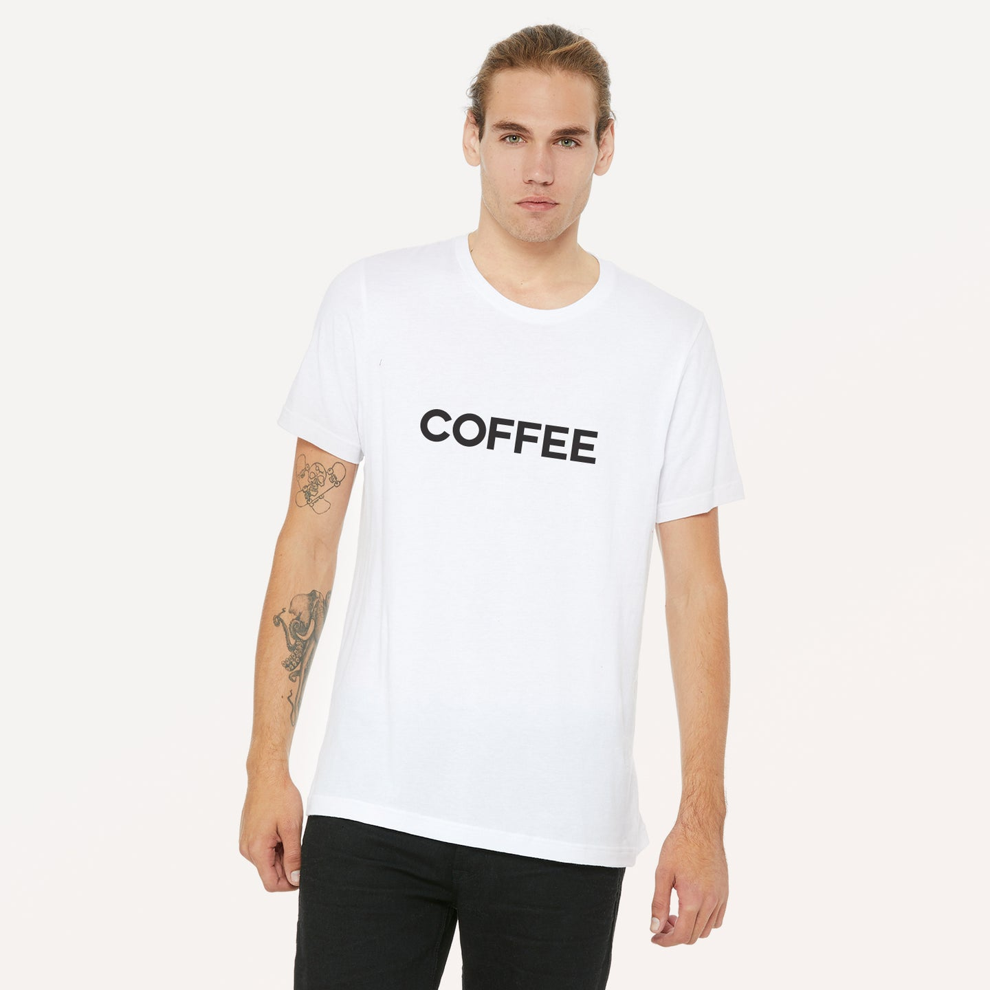 Coffee graphic screenprinted in black on a white unisex soft cotton jersey t-shirt.
