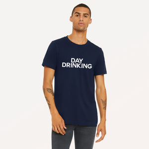 Day Drinking graphic screenprinted in white on a navy unisex soft cotton jersey t-shirt.
