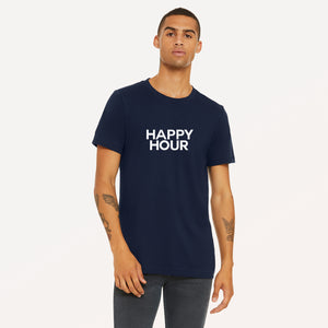 Happy Hour screenprinted in white on navy unisex t-shirt.