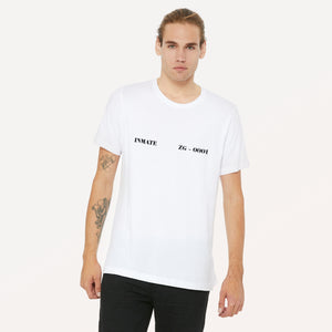 Inmate ZG-0001 graphic screenprinted in black on a white unisex soft cotton jersey t-shirt.