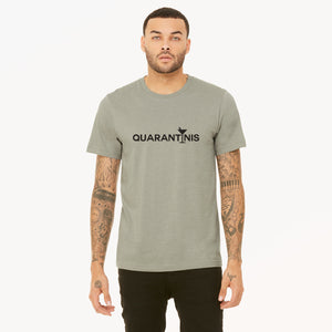 Quarantini graphic is screenprinted in black on a heather stone unisex soft cotton jersey t-shirt.