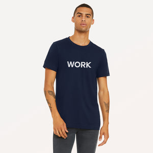Work graphic screenprinted in white on the front of a navy unisex soft cotton jersey t-shirt.