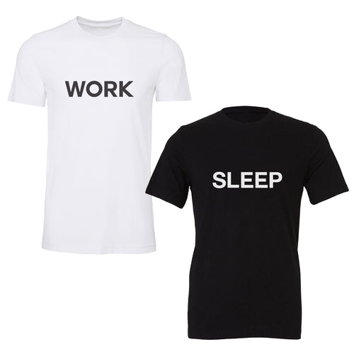 Wearing pajamas 24/7 is the new wfh norm. Switch it up between your daytime pajamas and your nighttime pajamas with this set of two soft cotton jersey t-shirts. Work screenprinted on the front of one, Sleep screenprinted on the front of the other.