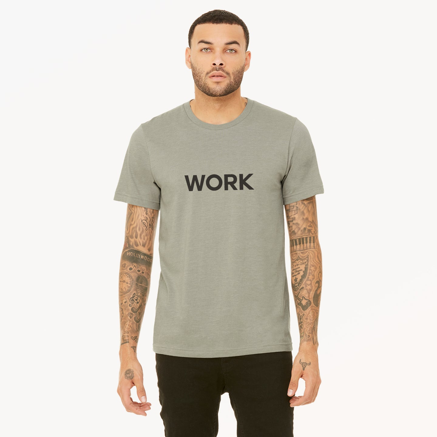 Work graphic screenprinted in white on the front of a heather stone unisex soft cotton jersey t-shirt.
