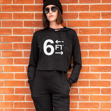 Load image into Gallery viewer,  6FT graphic is screenprinted on a soft cropped long sleeve pullover hooded t-shirt.