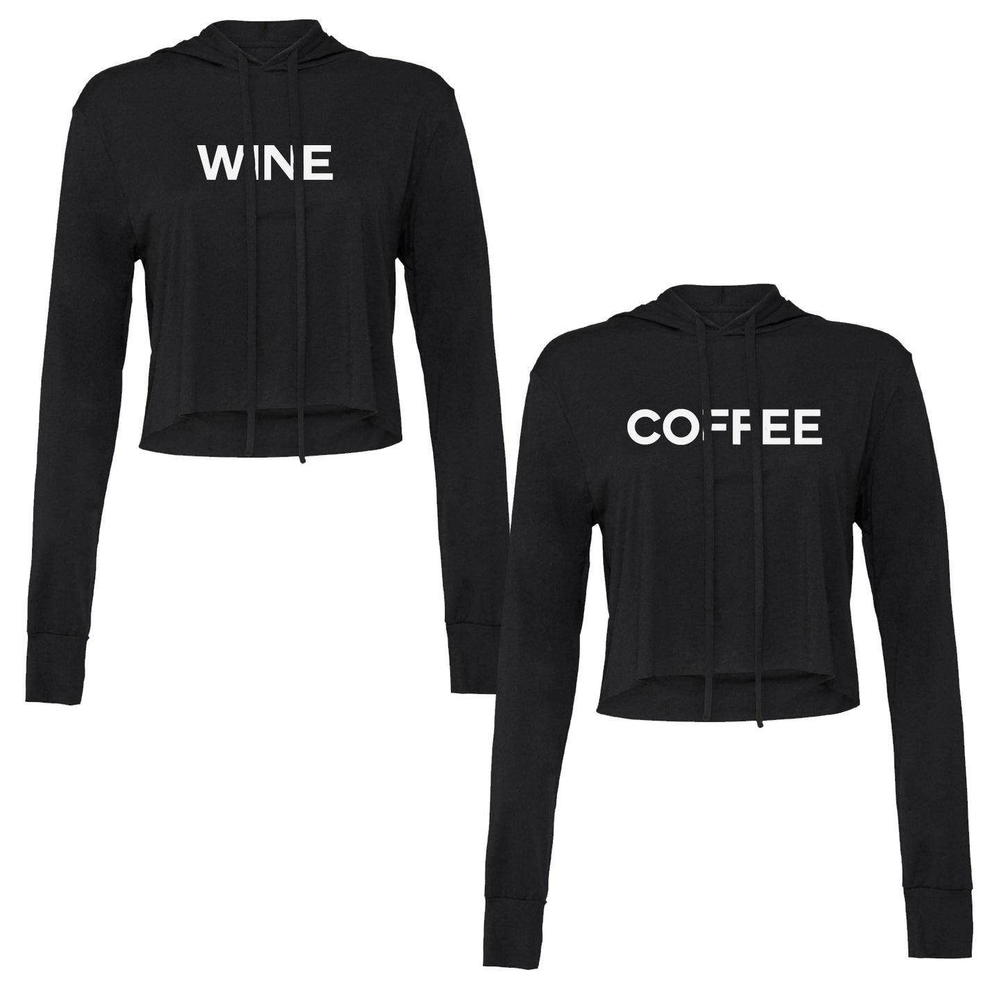 Set of two women's cropped long sleeve hooded t-shirts. Coffee screenprinted on the front of one, Wine screenprinted on the front of the other.