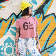 Load image into Gallery viewer, 6FT graphic is screenprinted on a mauve women's flowy cropped t-shirt.