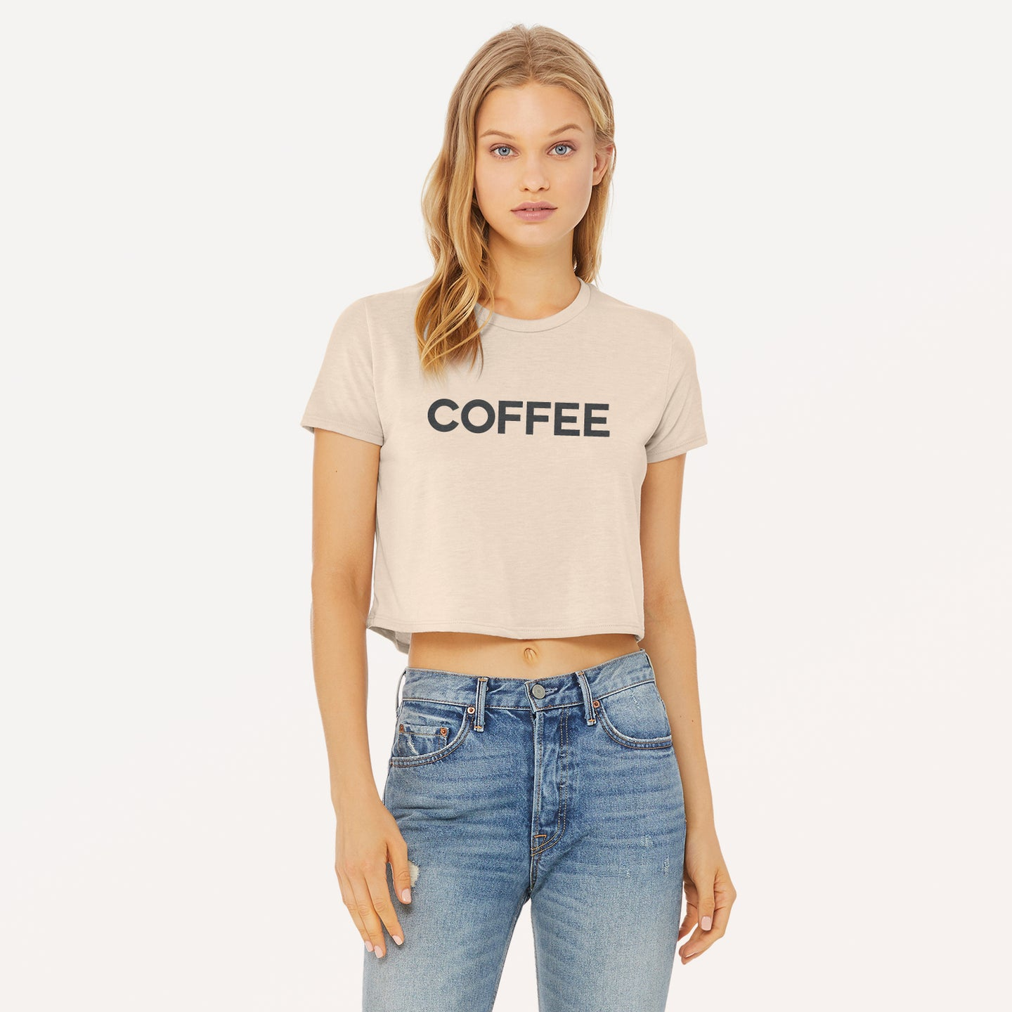 Coffee graphic screenprinted on a heather dust women's flowy cropped t-shirt.