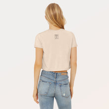 Load image into Gallery viewer, From a Higher Place — 8000' + 6' of Social Distancing graphic screenprinted on back of a women's flowy cropped t-shirt.
