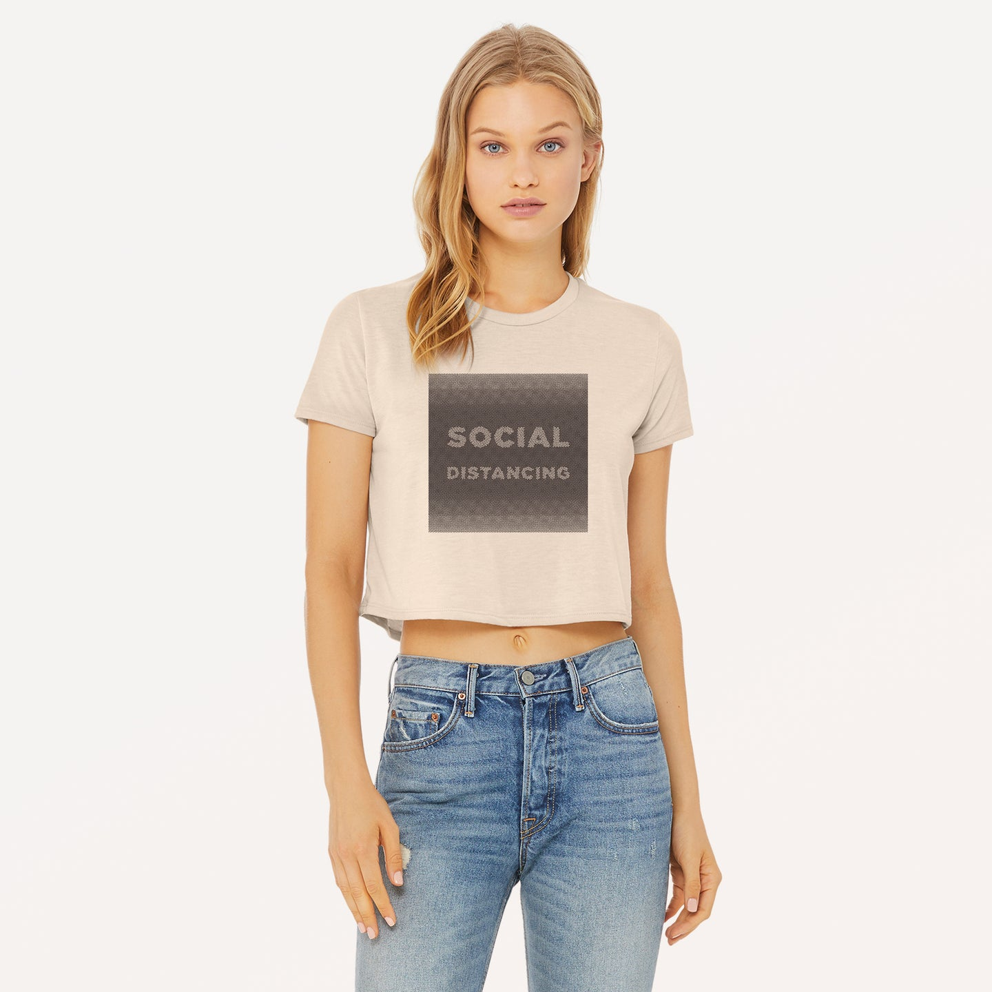 Social Distancing graphic screenprinted on a heather dust women's flowy cropped t-shirt.