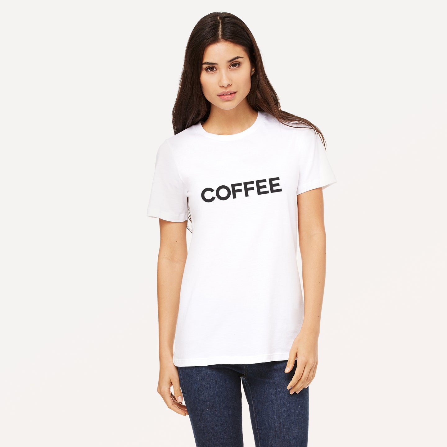 Coffee graphic screenprinted in black on a white unisex relaxed cotton jersey t-shirt.
