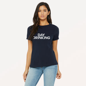 Day Drinking graphic screenprinted in white on a navy unisex relaxed cotton jersey t-shirt.