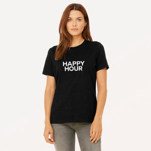 Happy Hour screenprinted in white on heather black women's t-shirt.