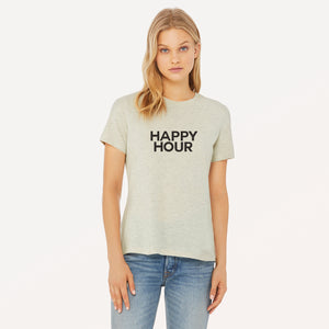 Happy Hour screenprinted in black on heather prism natural women's t-shirt.