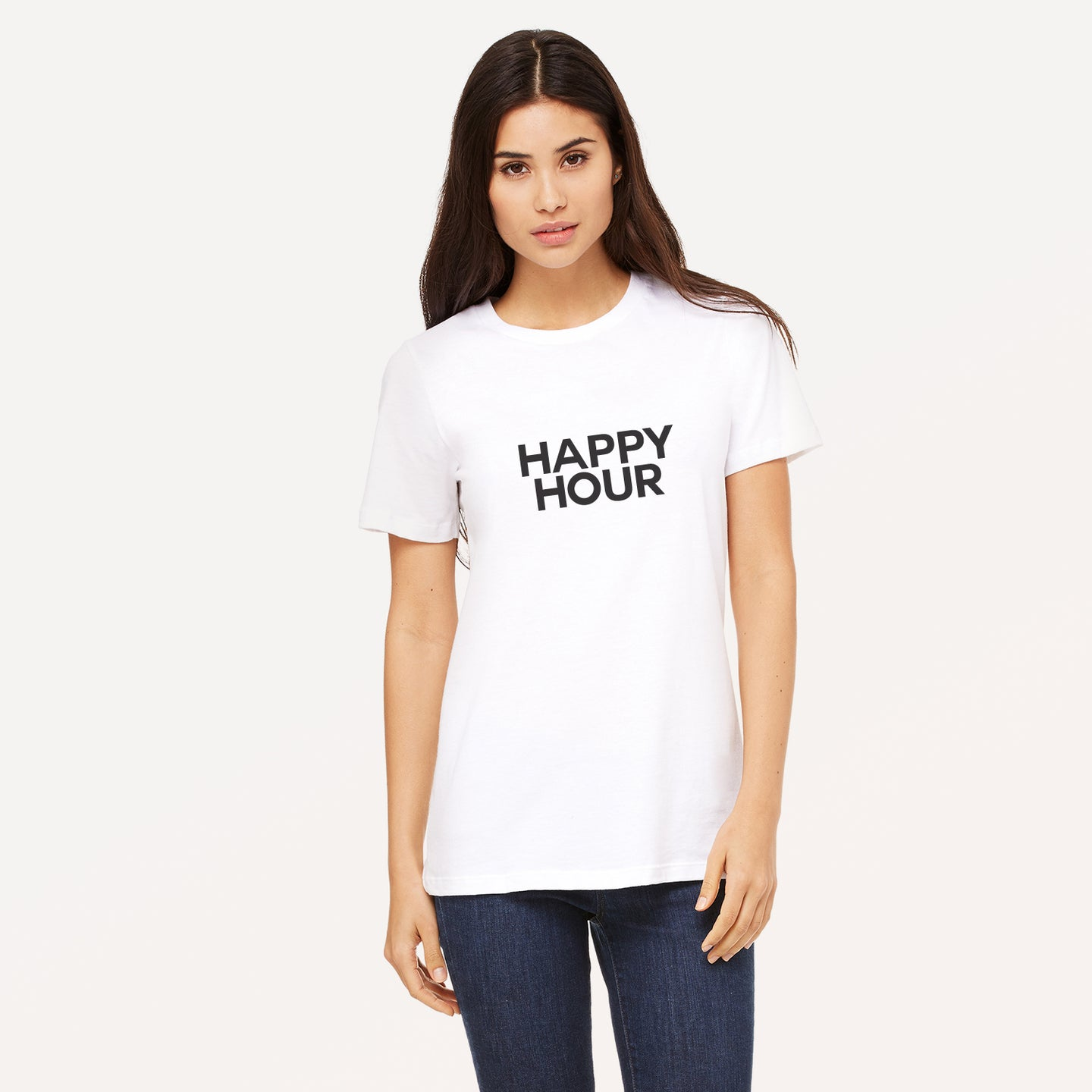Happy Hour graphic screenprinted in black on a white unisex relaxed cotton jersey t-shirt.