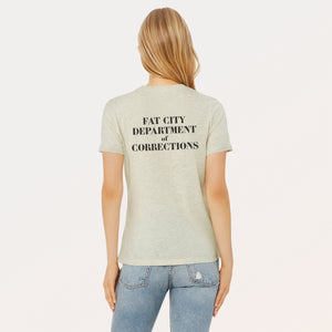 Fat City Department of Corrections graphic screenprinted in black on the back of a Heather Prism Natural relaxed cotton jersey t-shirt.