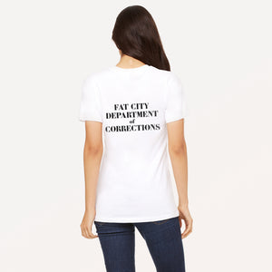 Fat City Department of Corrections graphic screenprinted in black on the back of a white relaxed cotton jersey t-shirt.
