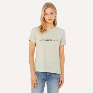 Aspen Silver Lining graphic screenprinted on a womens heather prism natural relaxed cotton jersey t-shirt.