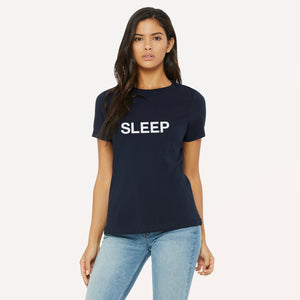 Sleep graphic screenprinted in white on the front of a navy unisex relaxed cotton jersey t-shirt.