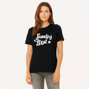 Sunday Best graphic screenprinted in white on a black women's relaxed cotton jersey t-shirt