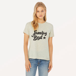 Sunday Best graphic screenprinted in black on a heather prism natural women's relaxed cotton jersey t-shirt