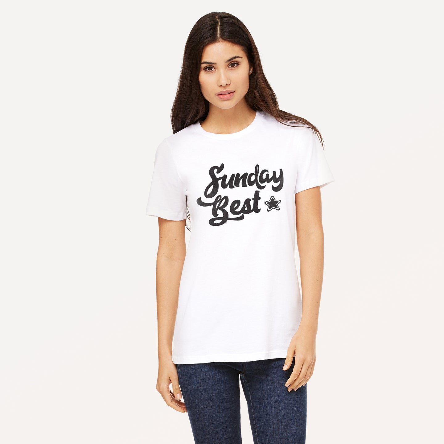 Sunday Best graphic screenprinted in black on a white unisex relaxed cotton jersey t-shirt