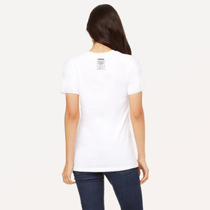 Vail Daily logo and From a Higher Place — 8150' + 6' of Social Distancing graphic screenprinted on back of unisex t-shirt