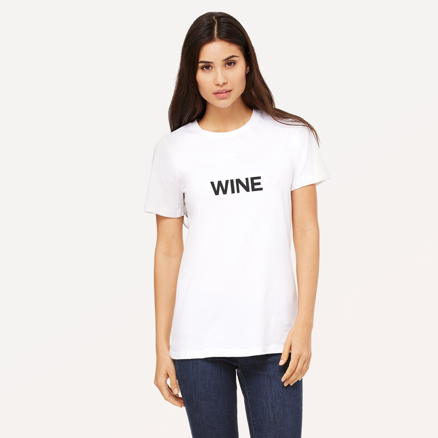Wine graphic screenprinted in black on a white unisex relaxed cotton jersey t-shirt.