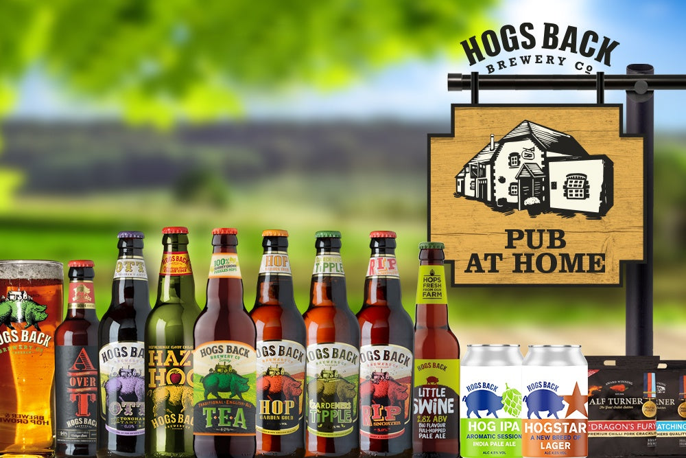 The Pub at home selection box - containing 17 Hogs Back beers, pork scratchings and a pint glass