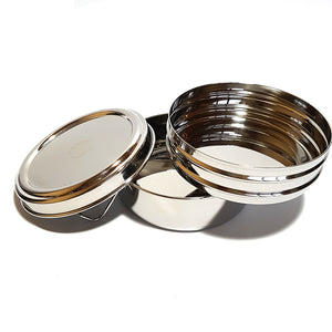 Two tier round stainless steel lunch box