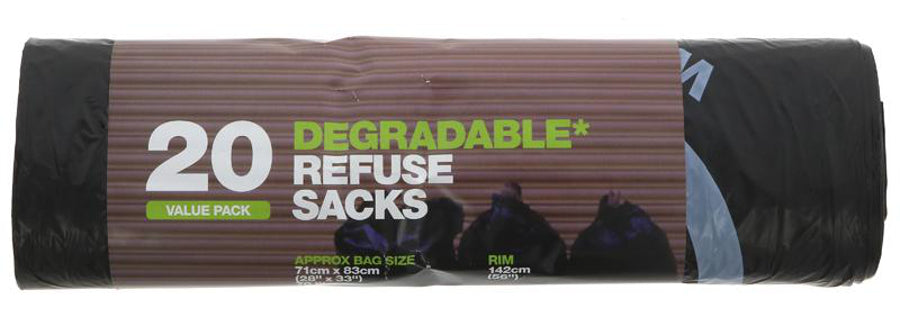 d2w degradable refuse sacks, 70l (roll of 20)