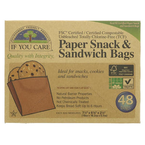 Paper snack and sandwich bags (box of 48)