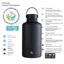 Load image into Gallery viewer, new 64oz / c.2 litre liquorice insulated epic bottle thermal canteen stainless steel lois logo