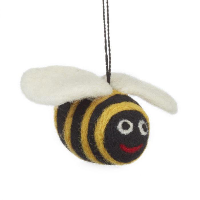 Handmade Biodegradable Big Bumblebee Hanging Needle Felt Decoration