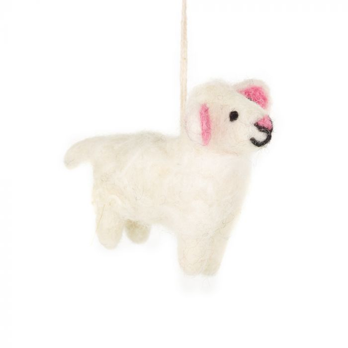 Handmade Biodegradable Felt Lulu the Lamb Hanging Easter Decoration