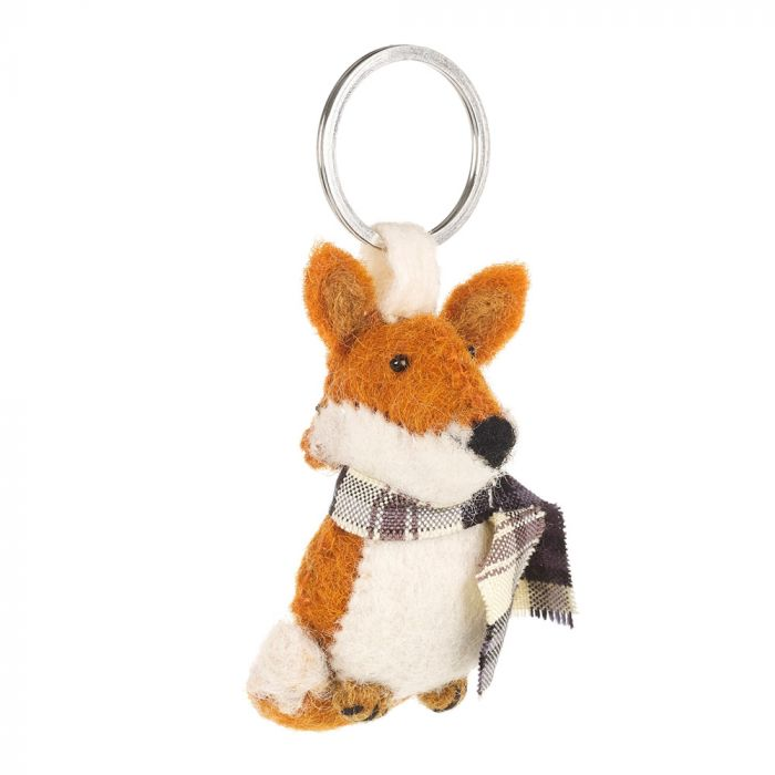 Handmade Fair trade Needle Felt Cosy Fox Keyring
