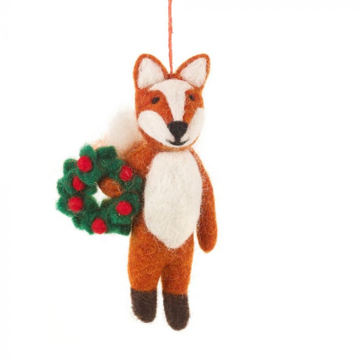 Handmade Felt Finley the Festive Fox Hanging Decoration