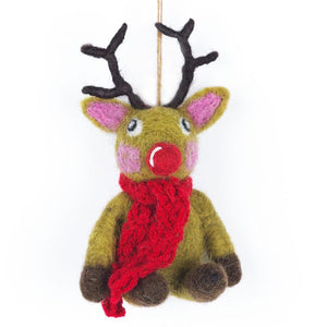 Handmade Felt Biodegradable Christmas Reindeer with knitted Scarf Hanging Decoration